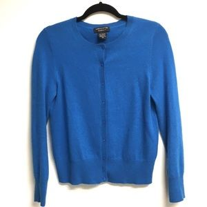 LORD & TAYLOR Cashmere Long Sleeve Cardigan Blue M
